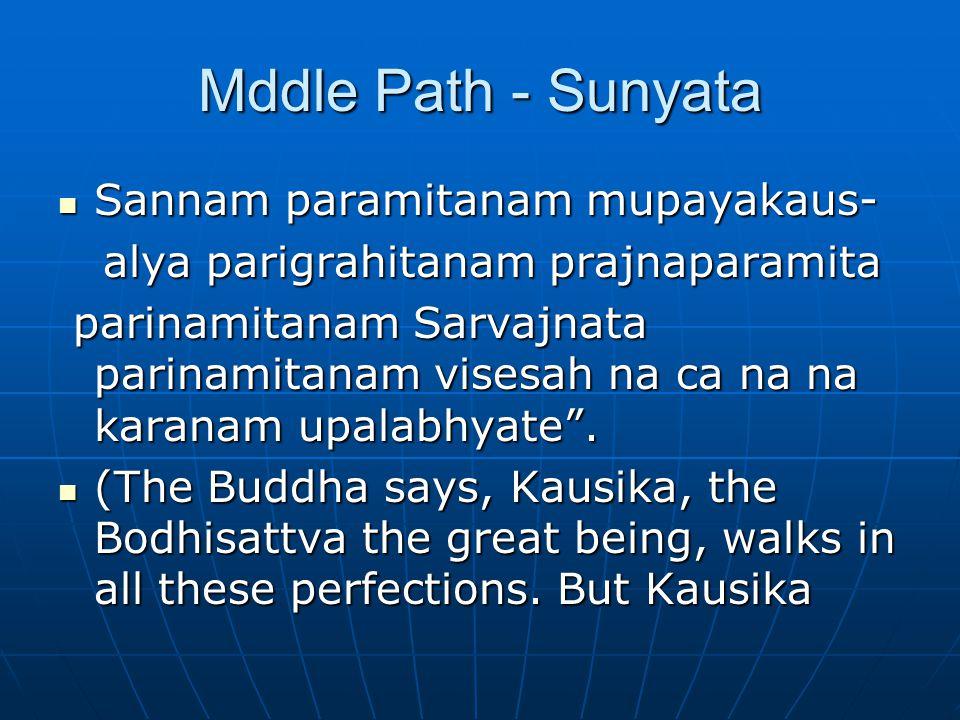 Mddle Path - Sunyata Sannam paramitanam mupayakaus- Sannam paramitanam mupayakaus- alya parigrahitanam prajnaparamita alya parigrahitanam prajnaparamita parinamitanam Sarvajnata parinamitanam visesah na ca na na karanam upalabhyate .