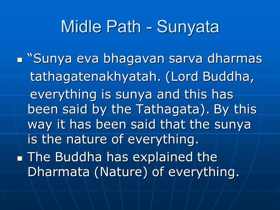 Midle Path - Sunyata Sunya eva bhagavan sarva dharmas Sunya eva bhagavan sarva dharmas tathagatenakhyatah.