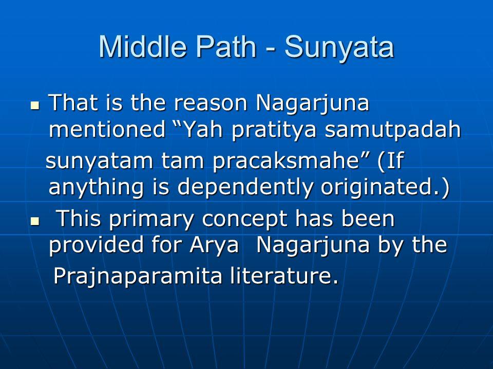 Middle Path - Sunyata That is the reason Nagarjuna mentioned Yah pratitya samutpadah That is the reason Nagarjuna mentioned Yah pratitya samutpadah sunyatam tam pracaksmahe (If anything is dependently originated.) sunyatam tam pracaksmahe (If anything is dependently originated.) This primary concept has been provided for Arya Nagarjuna by the This primary concept has been provided for Arya Nagarjuna by the Prajnaparamita literature.