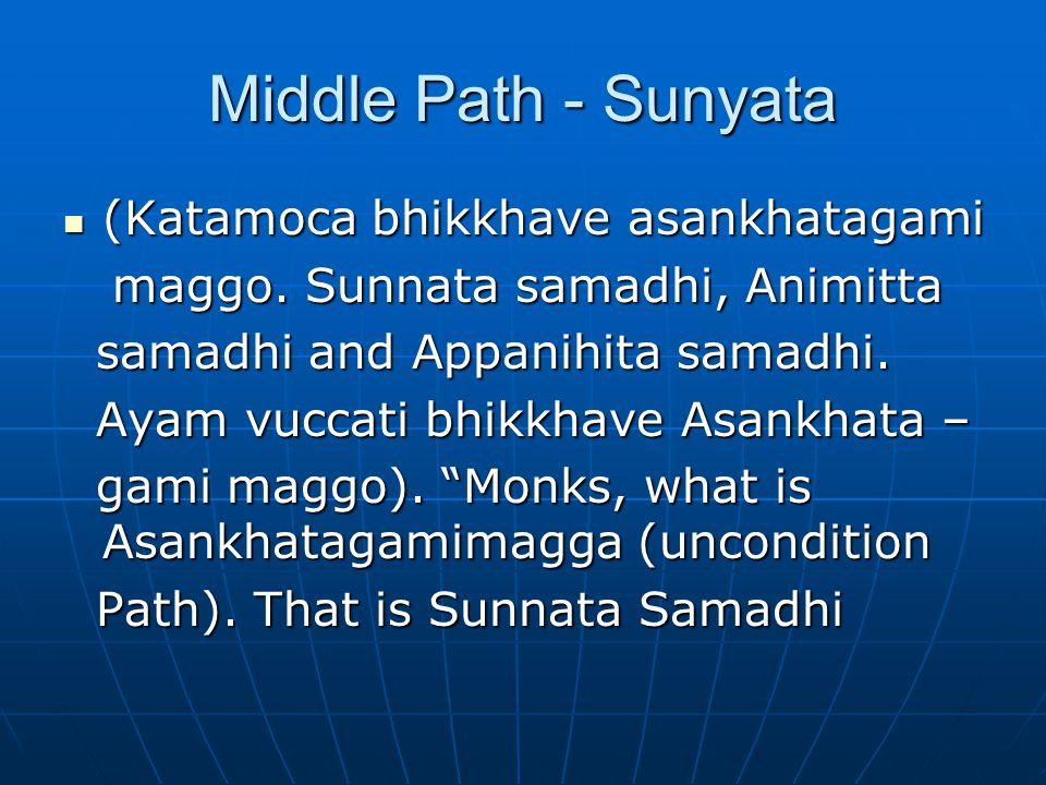 Middle Path - Sunyata (Katamoca bhikkhave asankhatagami (Katamoca bhikkhave asankhatagami maggo.