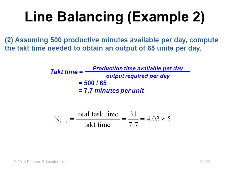 9 - 23© 2014 Pearson Education, Inc. (2) Assuming 500 productive minutes available per day, compute the takt time needed to obtain an output of 65 uni