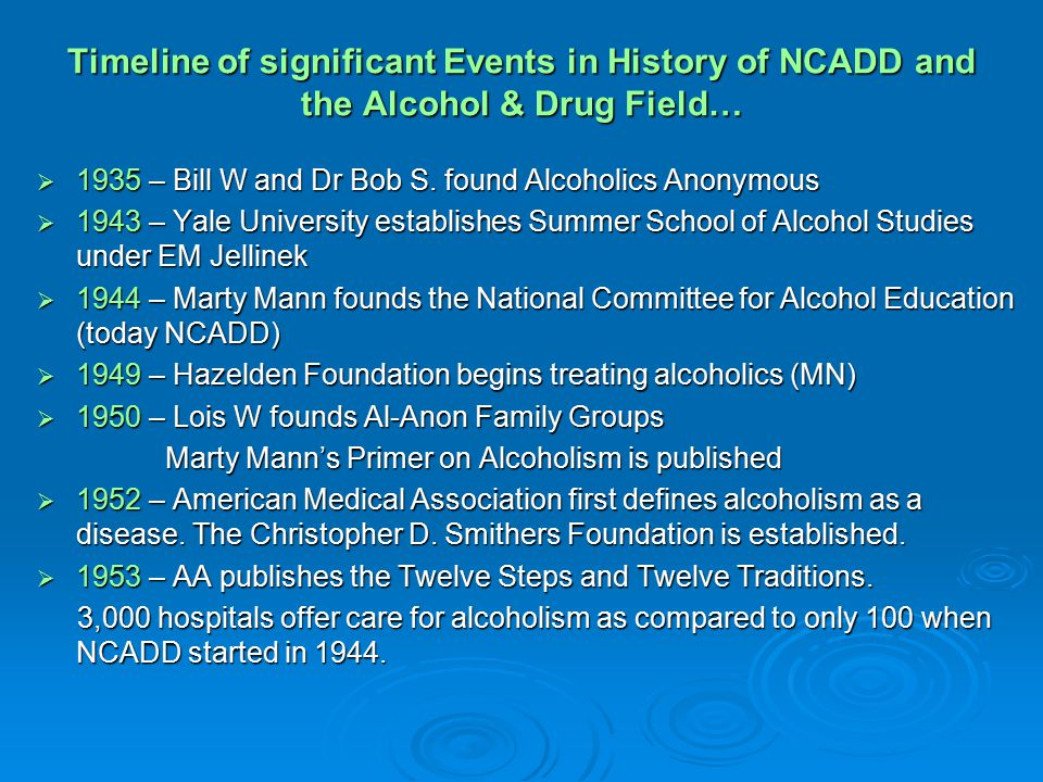 Timeline of significant Events in History of NCADD and the Alcohol & Drug Field…  1935 – Bill W and Dr Bob S.