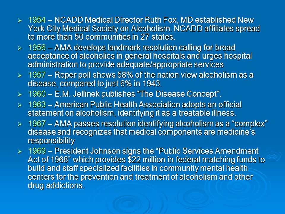  1954 – NCADD Medical Director Ruth Fox, MD established New York City Medical Society on Alcoholism.