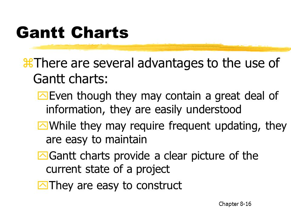 Gantt Charts zThere are several advantages to the use of Gantt charts: yEven though they may contain a great deal of information, they are easily unde