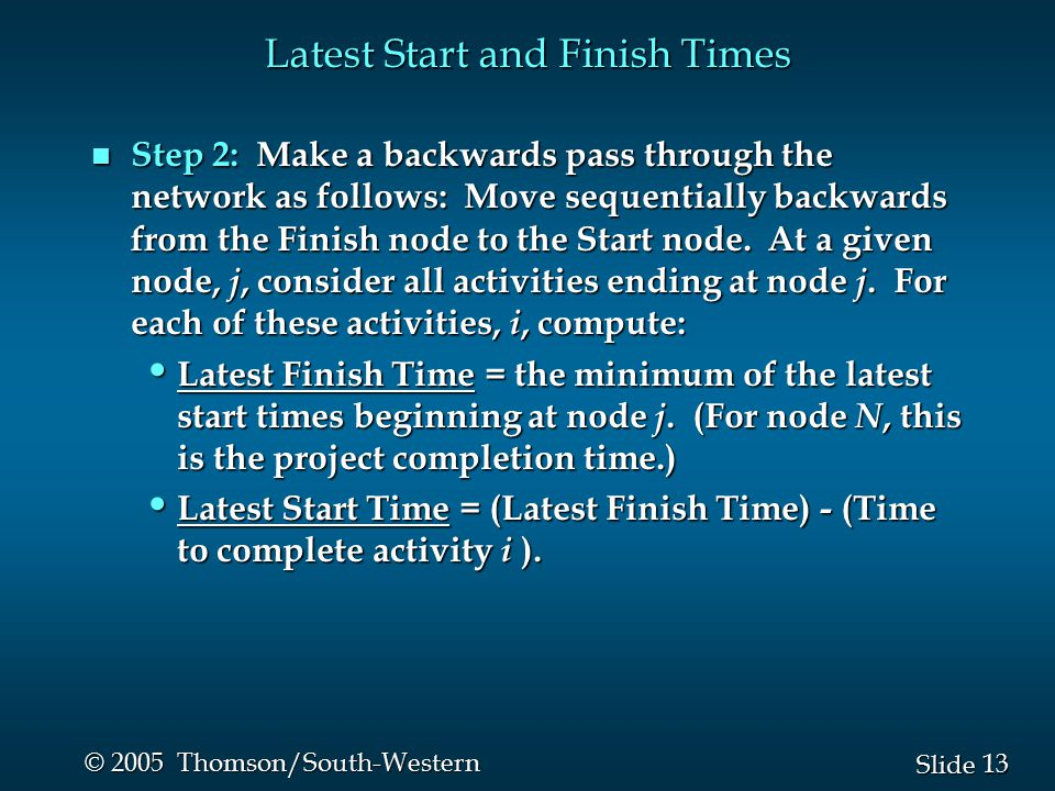 14 Slide © 2005 Thomson/South-Western Example: Frank's Fine Floats n Latest Start and Finish Times Start Finish B 3 D 3 A 3 C 2 G 6 F 3 H 2 E 7 0 3 3 6 6 9 3 5 12 18 6 9 5 7 5 12 6 9 9 12 0 3 3 5 12 18 15 18 16 18 5 12