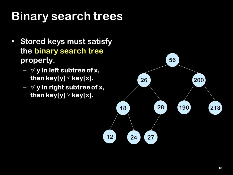 10 Binary search trees Stored keys must satisfy the binary search tree property. –  y in left subtree of x, then key[y]  key[x]. –  y in right subt