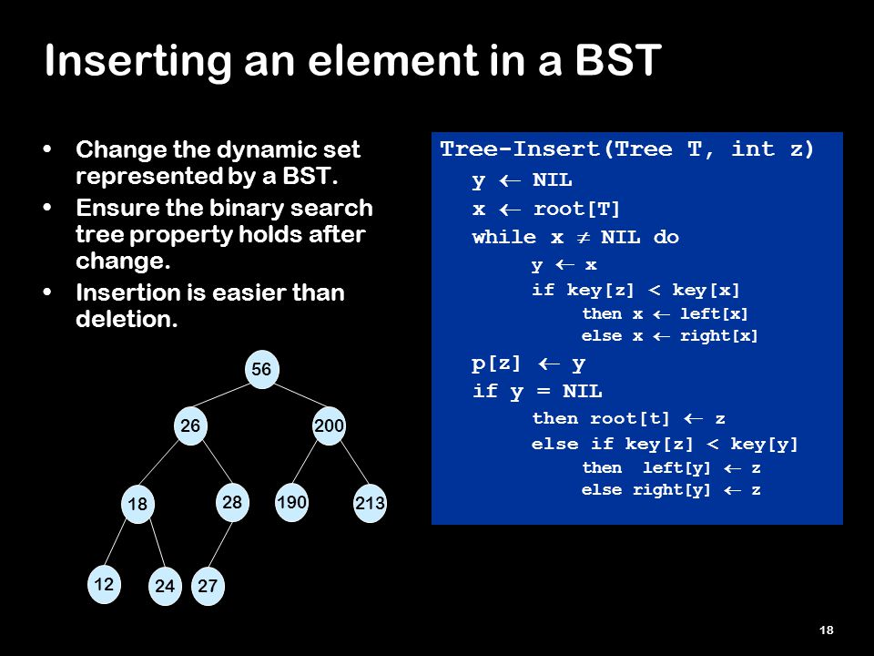 18 Inserting an element in a BST Tree-Insert(Tree T, int z) y  NIL x  root[T] while x  NIL do y  x if key[z] < key[x] then x  left[x] else x  right[x] p[z]  y if y = NIL then root[t]  z else if key[z] < key[y] then left[y]  z else right[y]  z Change the dynamic set represented by a BST.