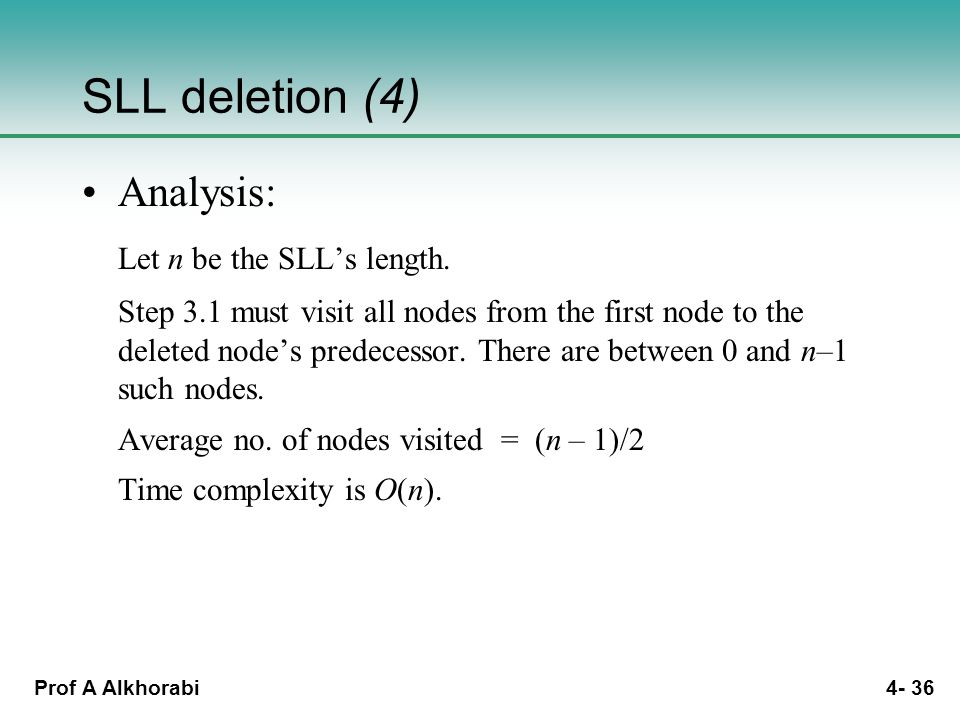 Prof A Alkhorabi 4- 36 SLL deletion (4) Analysis: Let n be the SLL's length.