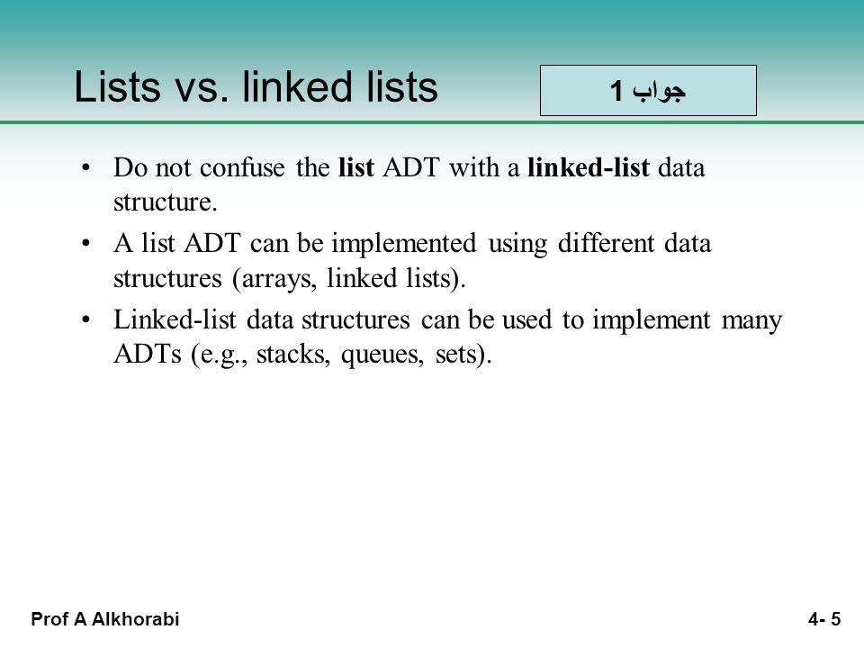 Prof A Alkhorabi 4- 5 Lists vs.
