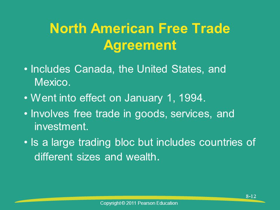 Copyright © 2011 Pearson Education 8-12 North American Free Trade Agreement Includes Canada, the United States, and Mexico.