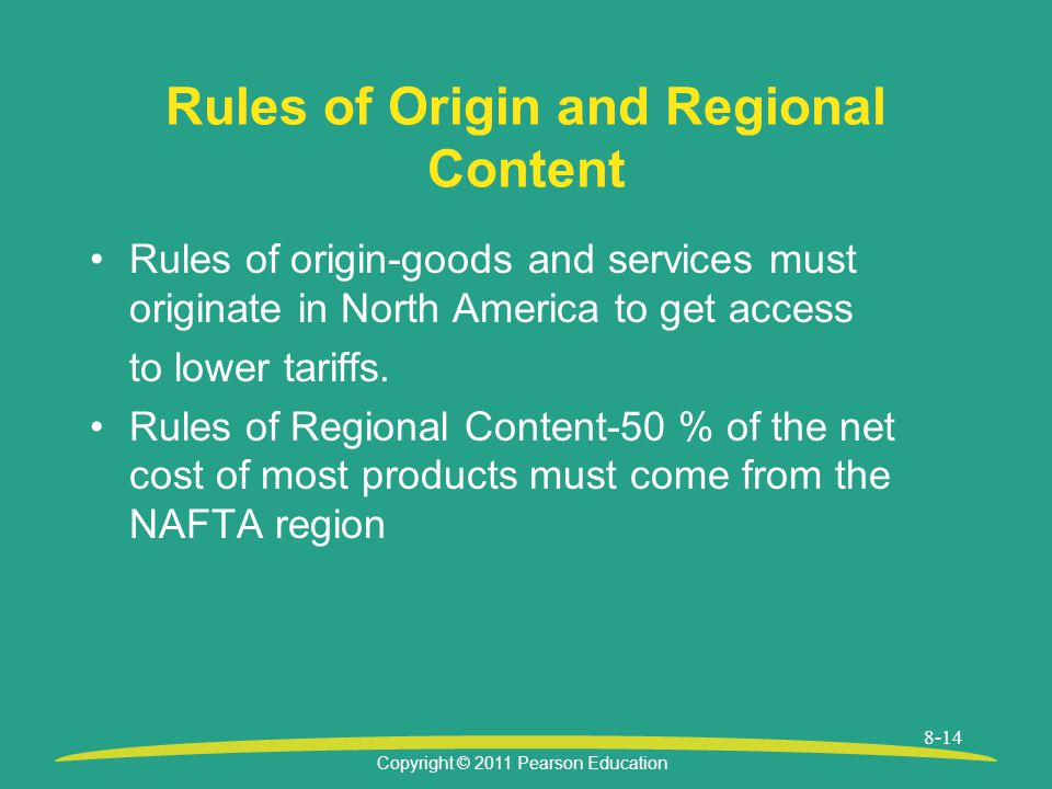 Copyright © 2011 Pearson Education 8-14 Rules of Origin and Regional Content Rules of origin-goods and services must originate in North America to get access to lower tariffs.