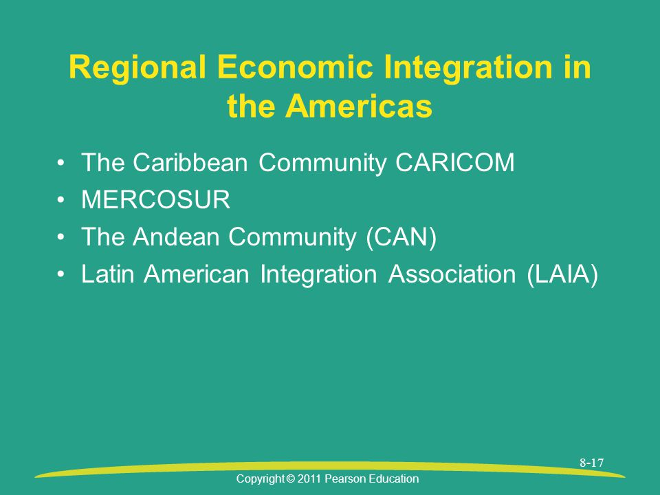 Copyright © 2011 Pearson Education 8-17 Regional Economic Integration in the Americas The Caribbean Community CARICOM MERCOSUR The Andean Community (CAN) Latin American Integration Association (LAIA)