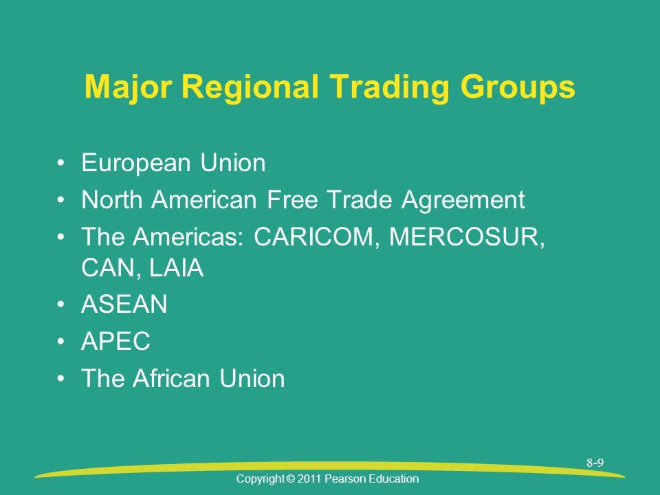 Copyright © 2011 Pearson Education 8-9 Major Regional Trading Groups European Union North American Free Trade Agreement The Americas: CARICOM, MERCOSUR, CAN, LAIA ASEAN APEC The African Union