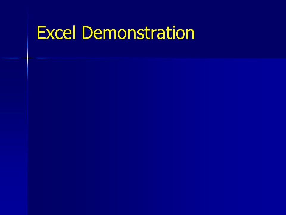 Excel Demonstration