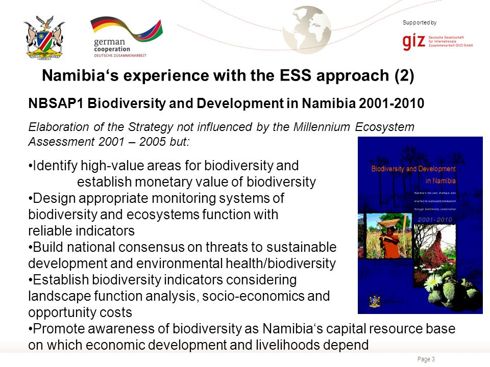 Page 3 Supported by NBSAP1 Biodiversity and Development in Namibia 2001-2010 Elaboration of the Strategy not influenced by the Millennium Ecosystem Assessment 2001 – 2005 but: Identify high-value areas for biodiversity and establish monetary value of biodiversity Design appropriate monitoring systems of biodiversity and ecosystems function with reliable indicators Build national consensus on threats to sustainable development and environmental health/biodiversity Establish biodiversity indicators considering landscape function analysis, socio-economics and opportunity costs Promote awareness of biodiversity as Namibia's capital resource base on which economic development and livelihoods depend Namibia's experience with the ESS approach (2)