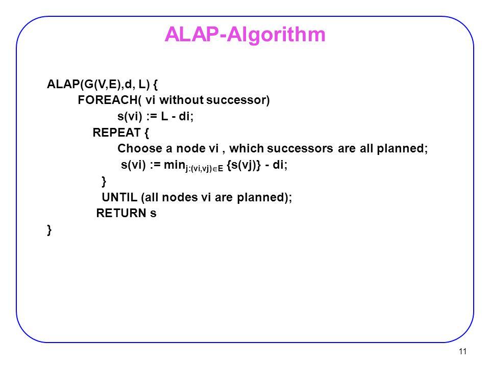 11 ALAP(G(V,E),d, L) { FOREACH( vi without successor) s(vi) := L - di; REPEAT { Choose a node vi, which successors are all planned; s(vi) := min j:(vi,vj)  E {s(vj)} - di; } UNTIL (all nodes vi are planned); RETURN s } ALAP-Algorithm