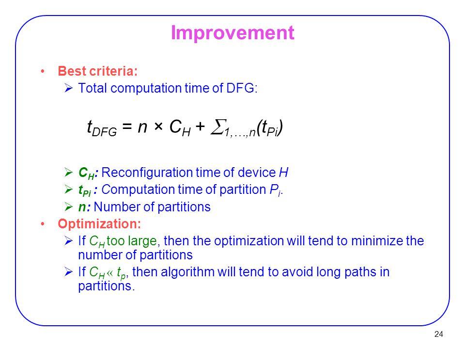 24 Improvement Best criteria:  Total computation time of DFG: t DFG = n × C H +  1,…,n (t Pi )  C H : Reconfiguration time of device H  t Pi : Computation time of partition P i.