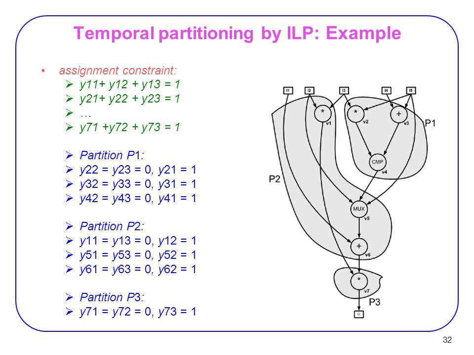 32 Temporal partitioning by ILP : Example assignment constraint:  y11+ y12 + y13 = 1  y21+ y22 + y23 = 1 ……  y71 +y72 + y73 = 1  Partition P1:  y22 = y23 = 0, y21 = 1  y32 = y33 = 0, y31 = 1  y42 = y43 = 0, y41 = 1  Partition P2:  y11 = y13 = 0, y12 = 1  y51 = y53 = 0, y52 = 1  y61 = y63 = 0, y62 = 1  Partition P3:  y71 = y72 = 0, y73 = 1