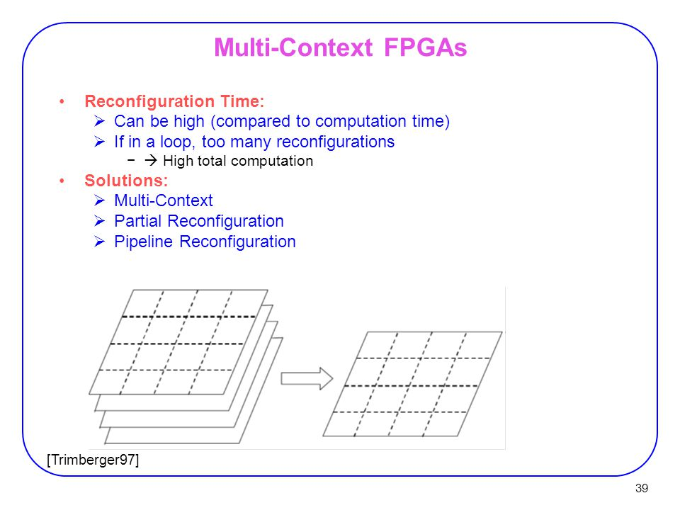 39 Multi-Context FPGAs Reconfiguration Time:  Can be high (compared to computation time)  If in a loop, too many reconfigurations −  High total computation Solutions:  Multi-Context  Partial Reconfiguration  Pipeline Reconfiguration [Trimberger97]