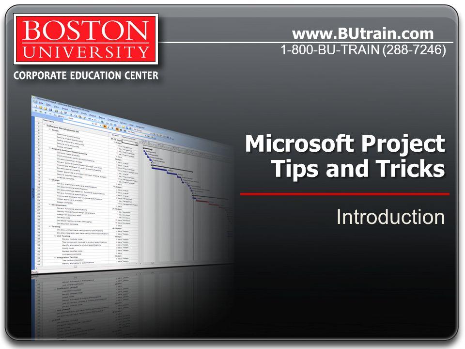 www.BUtrain.com 1-800-BU-TRAIN (288-7246) Microsoft Project Tips and Tricks General