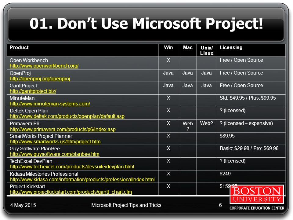 www.BUtrain.com 1-800-BU-TRAIN (288-7246) Microsoft © Project™ Tips and Tricks Scott S.
