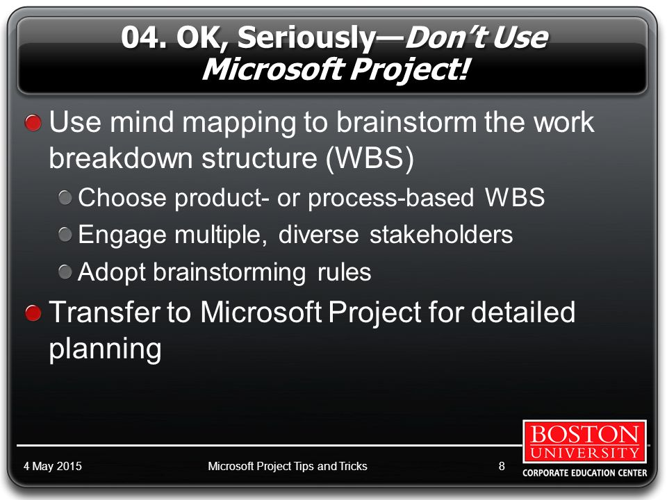 28. Use the Network Diagram to Sequence Tasks Better: 4 May 2015Microsoft Project Tips and Tricks39