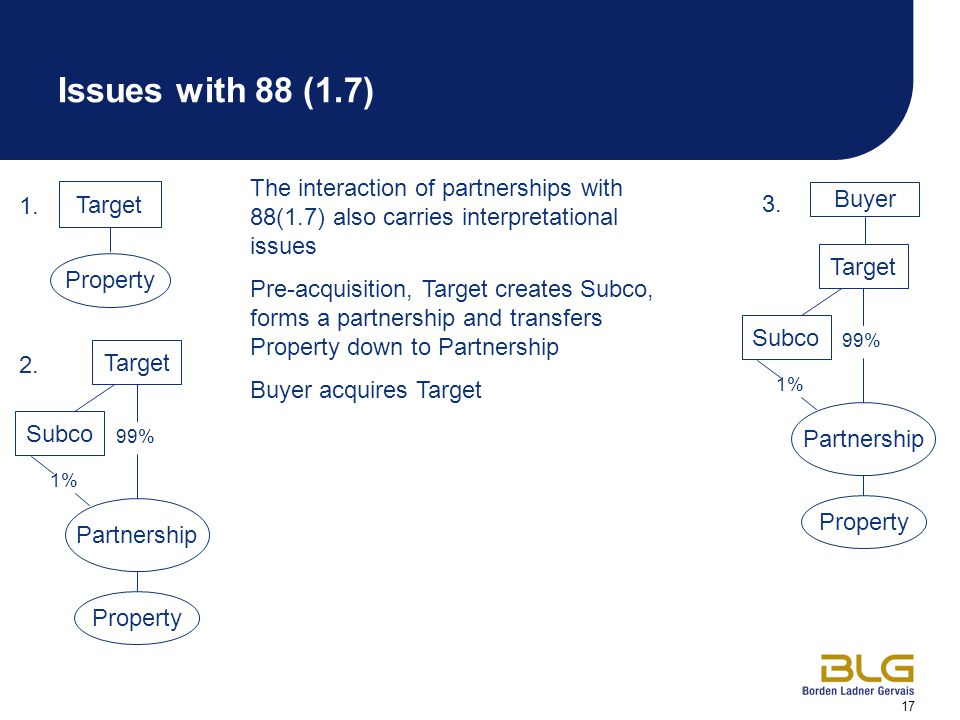 17 Target Buyer Property The interaction of partnerships with 88(1.7) also carries interpretational issues Pre-acquisition, Target creates Subco, forms a partnership and transfers Property down to Partnership Buyer acquires Target 1.