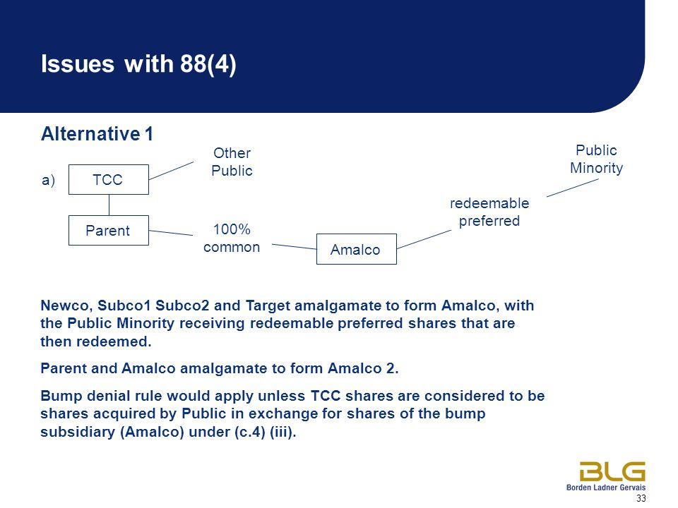33 Issues with 88(4) Alternative 1 TCC a) Parent Newco, Subco1 Subco2 and Target amalgamate to form Amalco, with the Public Minority receiving redeemable preferred shares that are then redeemed.