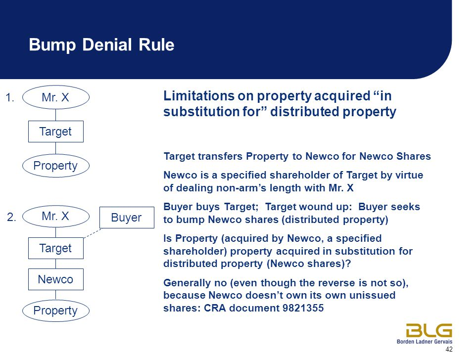 "42 Mr. X Limitations on property acquired ""in substitution for"" distributed property Target transfers Property to Newco for Newco Shares Newco is a sp"