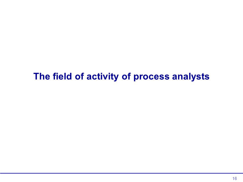 16 The field of activity of process analysts