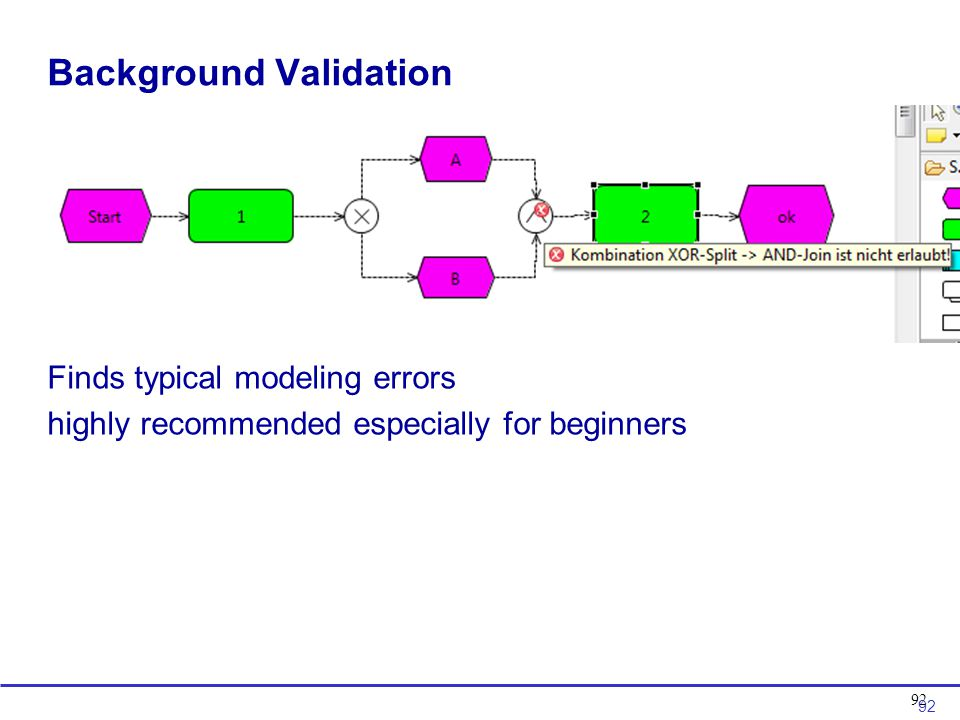 92 Background Validation Finds typical modeling errors highly recommended especially for beginners 92
