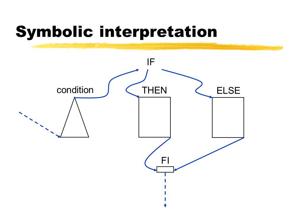 Symbolic interpretation condition IF THEN ELSE FI
