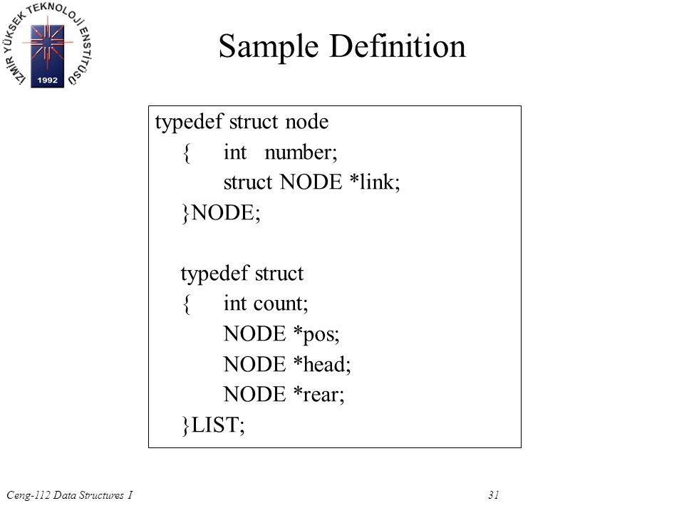 Ceng-112 Data Structures I 31 Sample Definition typedef struct node {int number; struct NODE *link; }NODE; typedef struct {int count; NODE *pos; NODE *head; NODE *rear; }LIST;