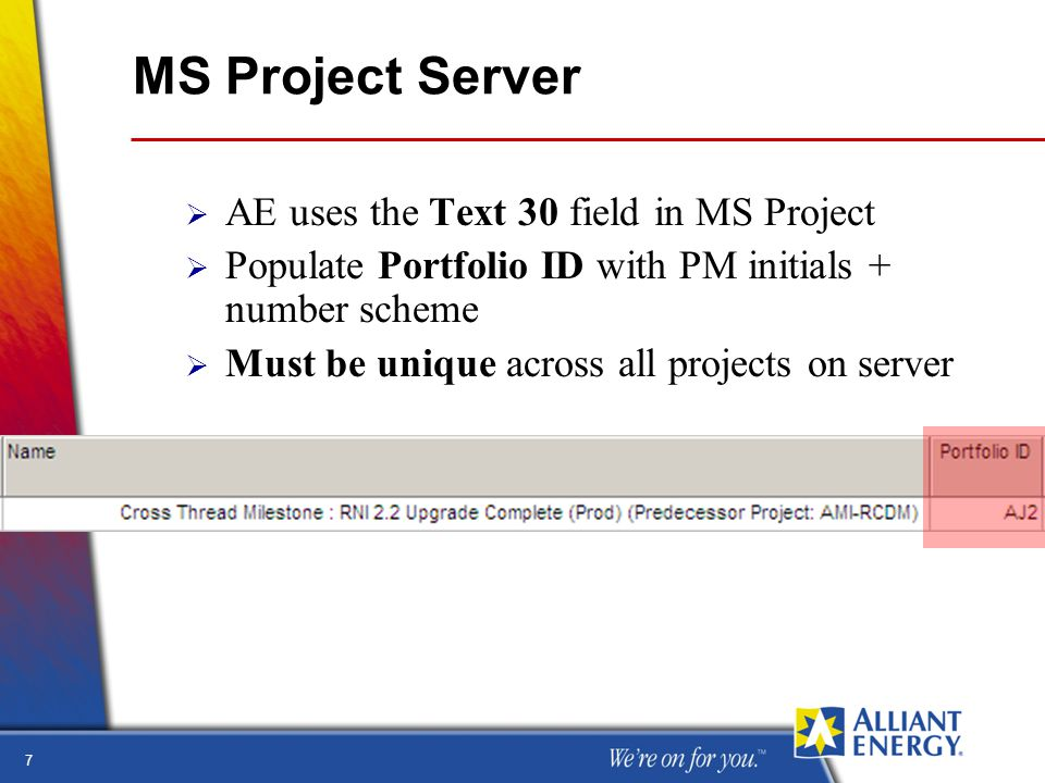 7 MS Project Server  AE uses the Text 30 field in MS Project  Populate Portfolio ID with PM initials + number scheme  Must be unique across all projects on server