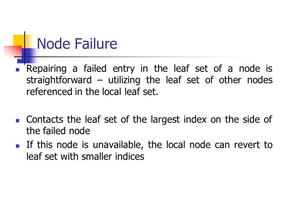 Node Failure Repairing a failed entry in the leaf set of a node is straightforward – utilizing the leaf set of other nodes referenced in the local lea