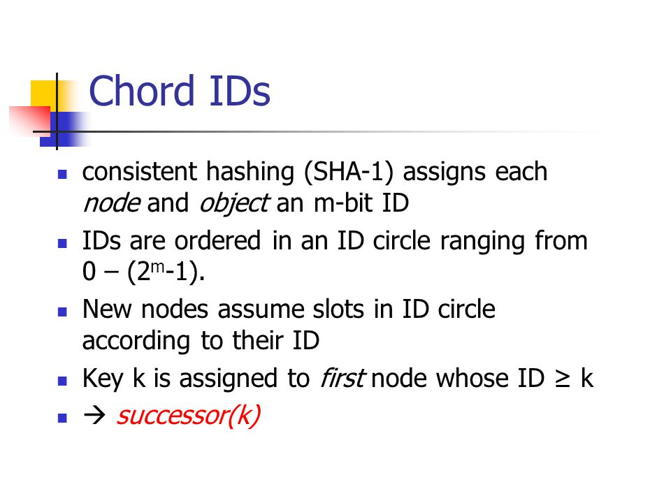 Chord IDs consistent hashing (SHA-1) assigns each node and object an m-bit ID IDs are ordered in an ID circle ranging from 0 – (2 m -1). New nodes ass