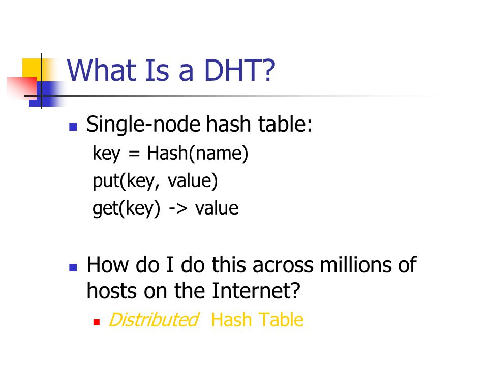 Consistent hashing N32 N90 N105 K80 K20 K5 Circular 7-bit ID space Key 5 Node 105 A key is stored at its successor: node with next higher ID