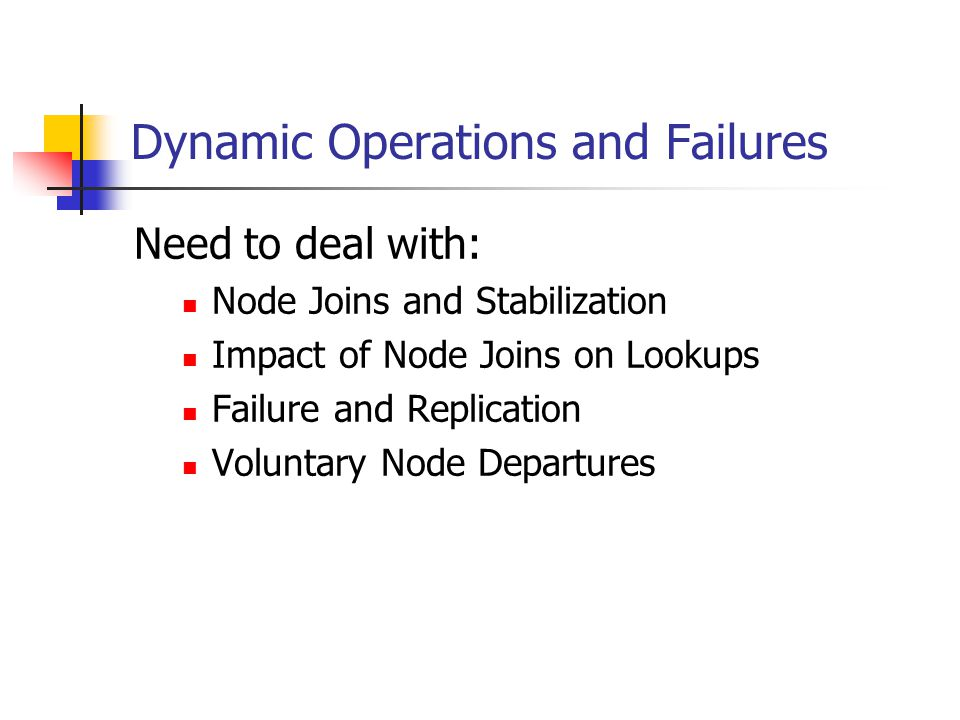 Dynamic Operations and Failures Need to deal with: Node Joins and Stabilization Impact of Node Joins on Lookups Failure and Replication Voluntary Node