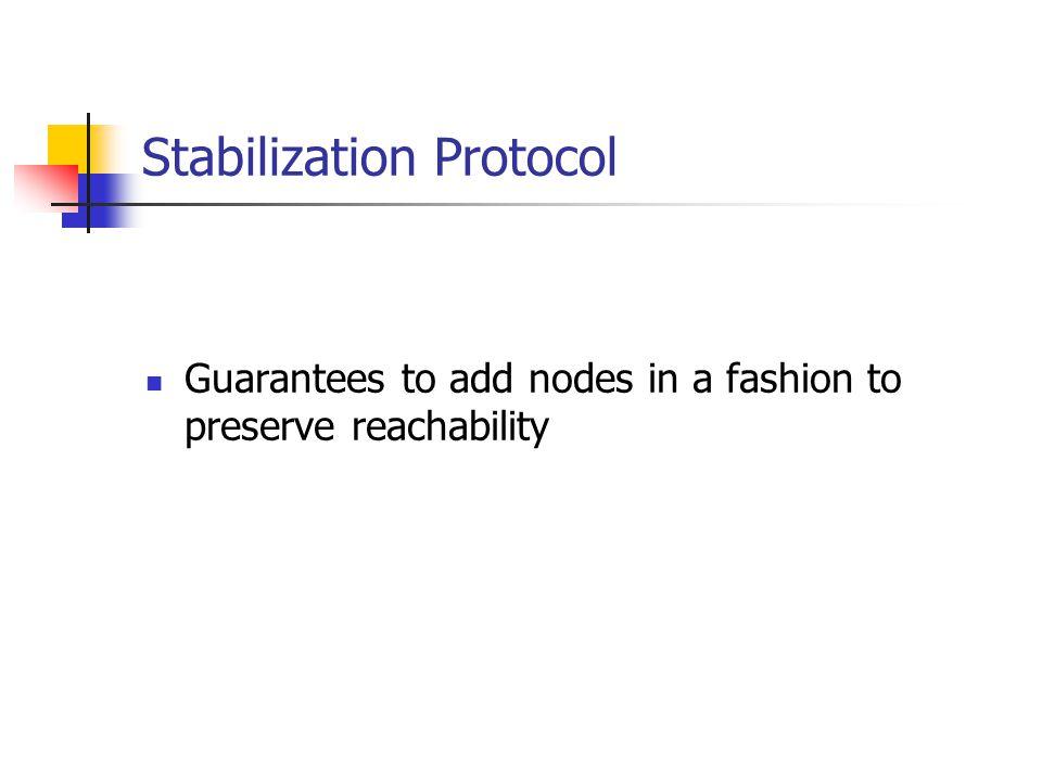 Stabilization Protocol Guarantees to add nodes in a fashion to preserve reachability