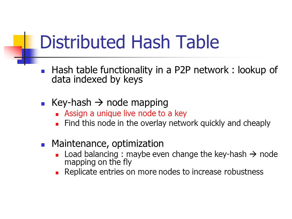 Addressed Difficult Problems (1) Load balance: distributed hash function, spreading keys evenly over nodes Decentralization: chord is fully distributed, no node more important than other, improves robustness Scalability: logarithmic growth of lookup costs with number of nodes in network, even very large systems are feasible