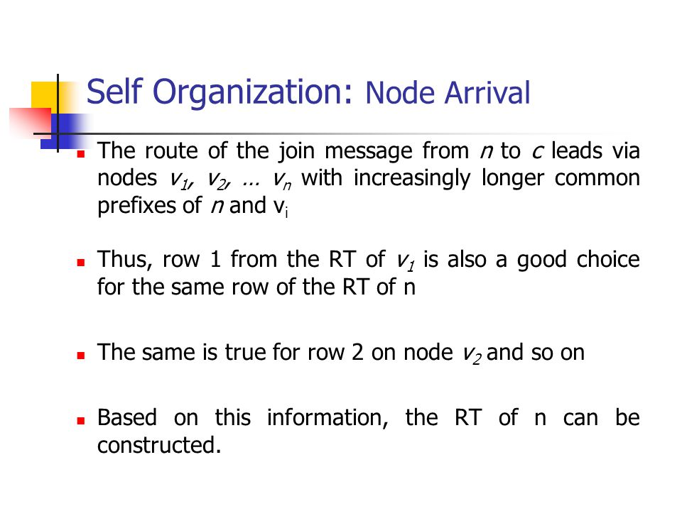 Self Organization: Node Arrival The route of the join message from n to c leads via nodes v 1, v 2, … v n with increasingly longer common prefixes of