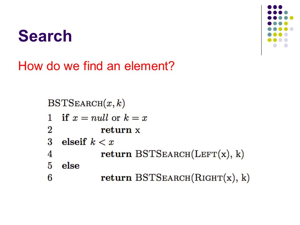 Search How do we find an element?
