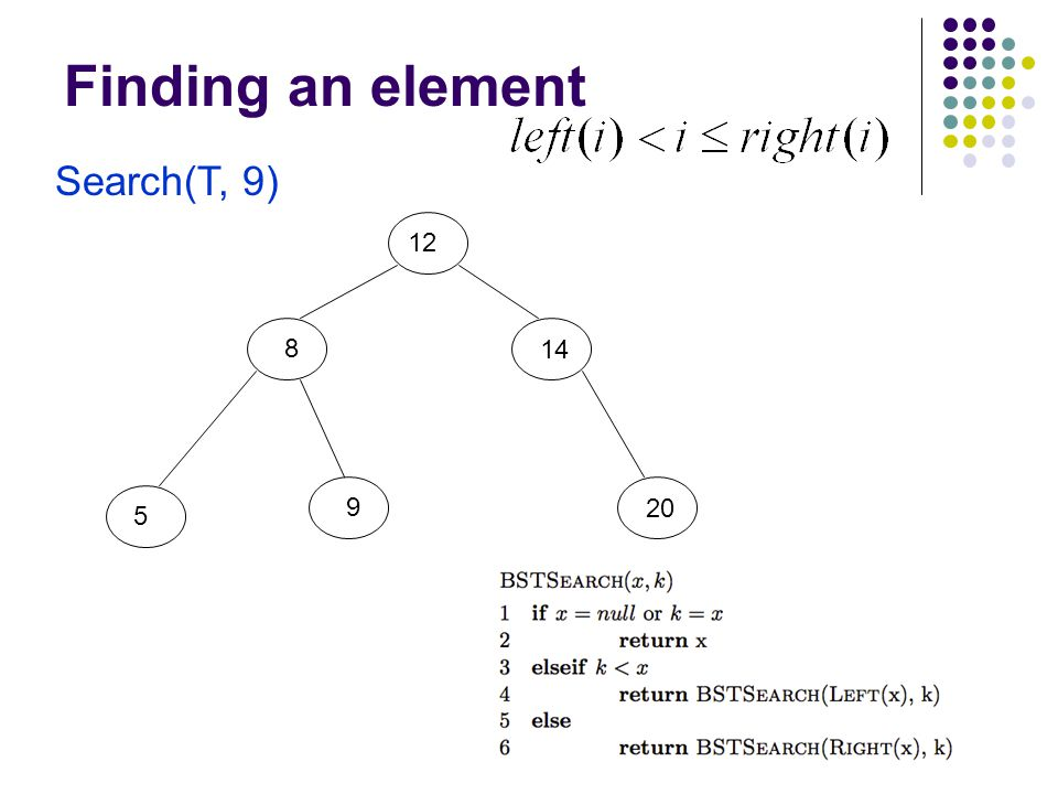 Finding an element Search(T, 9) 12 8 5 9 20 14