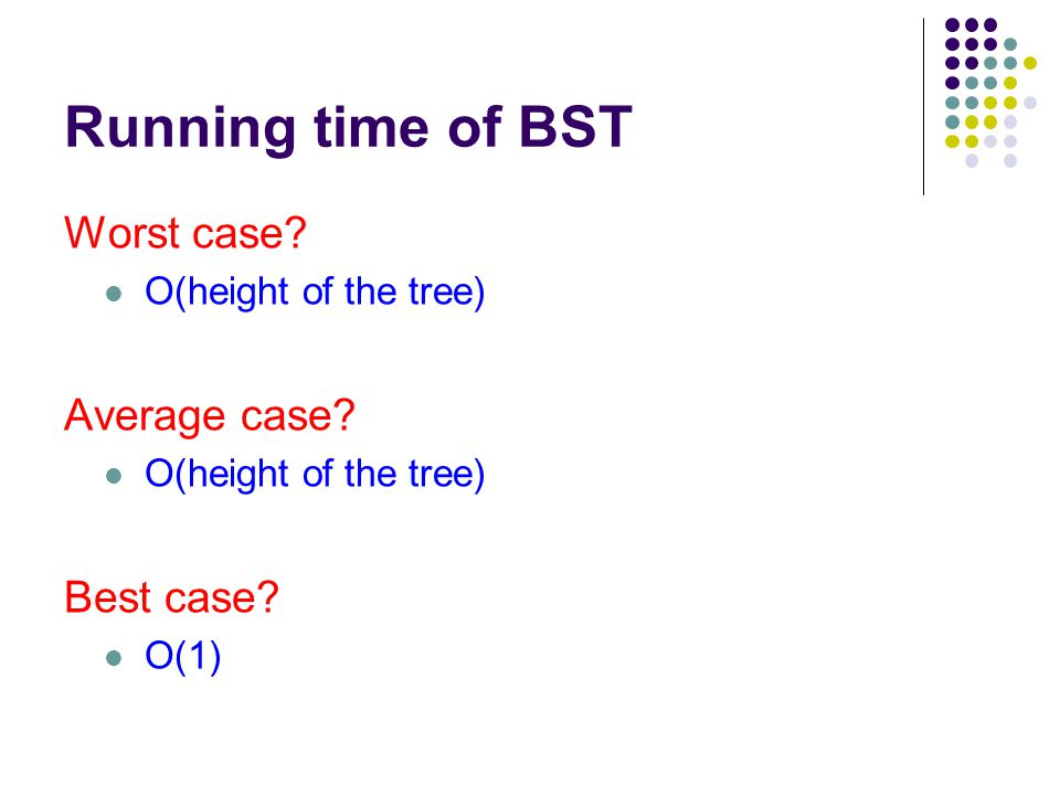 Running time of BST Worst case. O(height of the tree) Average case.