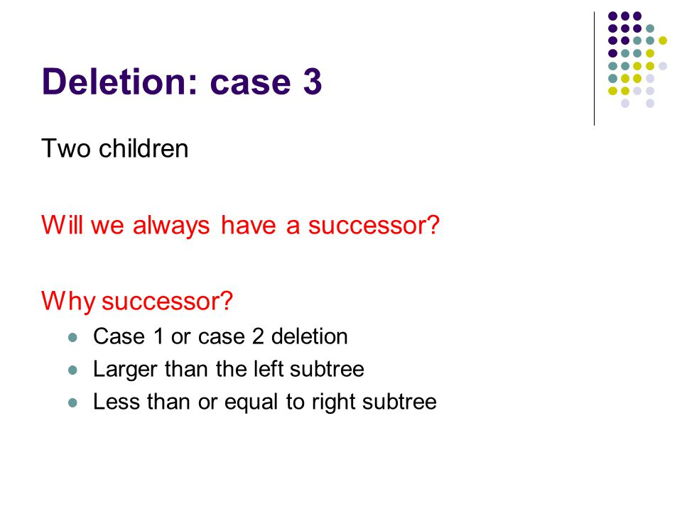 Deletion: case 3 Two children Will we always have a successor.