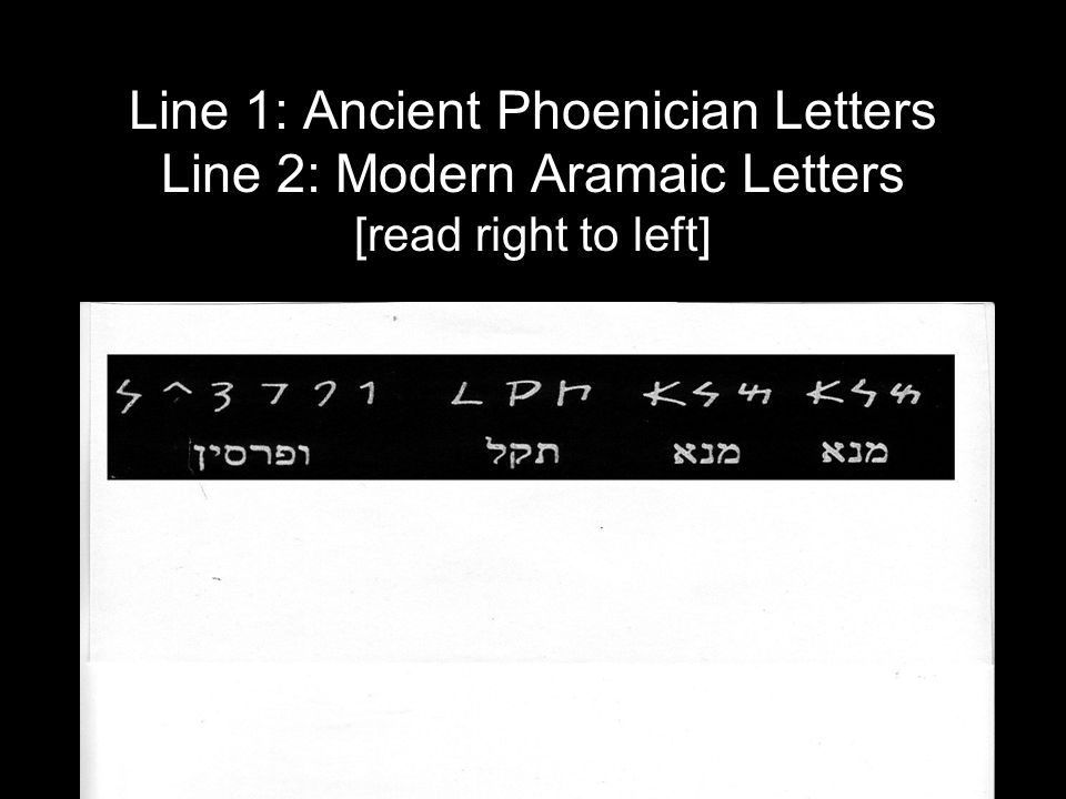 Line 1: Ancient Phoenician Letters Line 2: Modern Aramaic Letters [read right to left]
