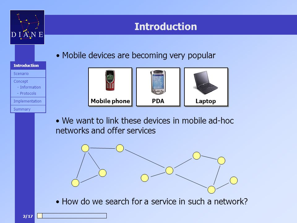 2/17 Introduction Mobile devices are becoming very popular We want to link these devices in mobile ad-hoc networks and offer services How do we search