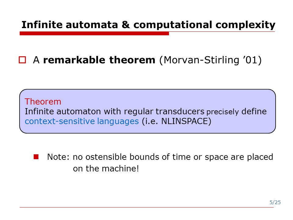 5/25 Infinite automata & computational complexity  A remarkable theorem (Morvan-Stirling '01) Note: no ostensible bounds of time or space are placed on the machine.