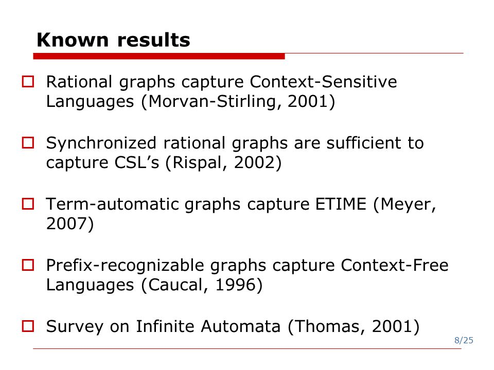 8/25 Known results  Rational graphs capture Context-Sensitive Languages (Morvan-Stirling, 2001)  Synchronized rational graphs are sufficient to capture CSL's (Rispal, 2002)  Term-automatic graphs capture ETIME (Meyer, 2007)  Prefix-recognizable graphs capture Context-Free Languages (Caucal, 1996)  Survey on Infinite Automata (Thomas, 2001)