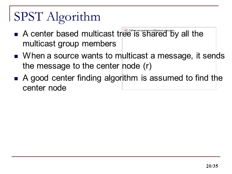 20/35 SPST Algorithm A center based multicast tree is shared by all the multicast group members When a source wants to multicast a message, it sends the message to the center node (r) A good center finding algorithm is assumed to find the center node